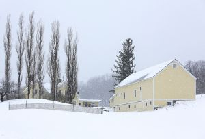 Yellow Farm in Soft Snowfall